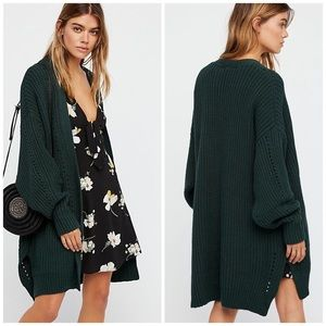 Free People Nightingale Open Front Cardigan Green